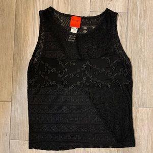 Bazaar de Christian LaCroix Sheer Black Lace Top